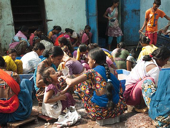 Gamberetti e Molluschi vengono puliti a mano da centianaia di donne e bambine