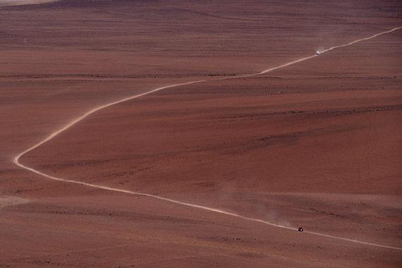 pista rossa sulle Ande